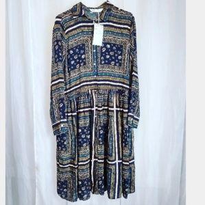 Zara sz M floral ruffle stripe button down dress.